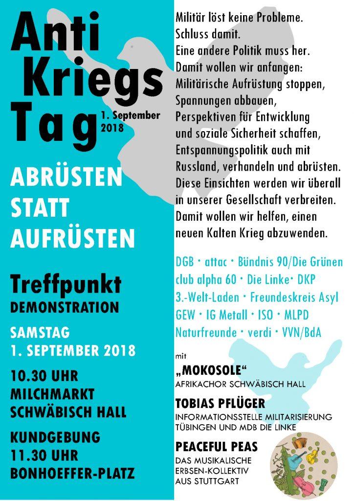 Antikriegstag @ Milchmarkt, Schwäb. Hall